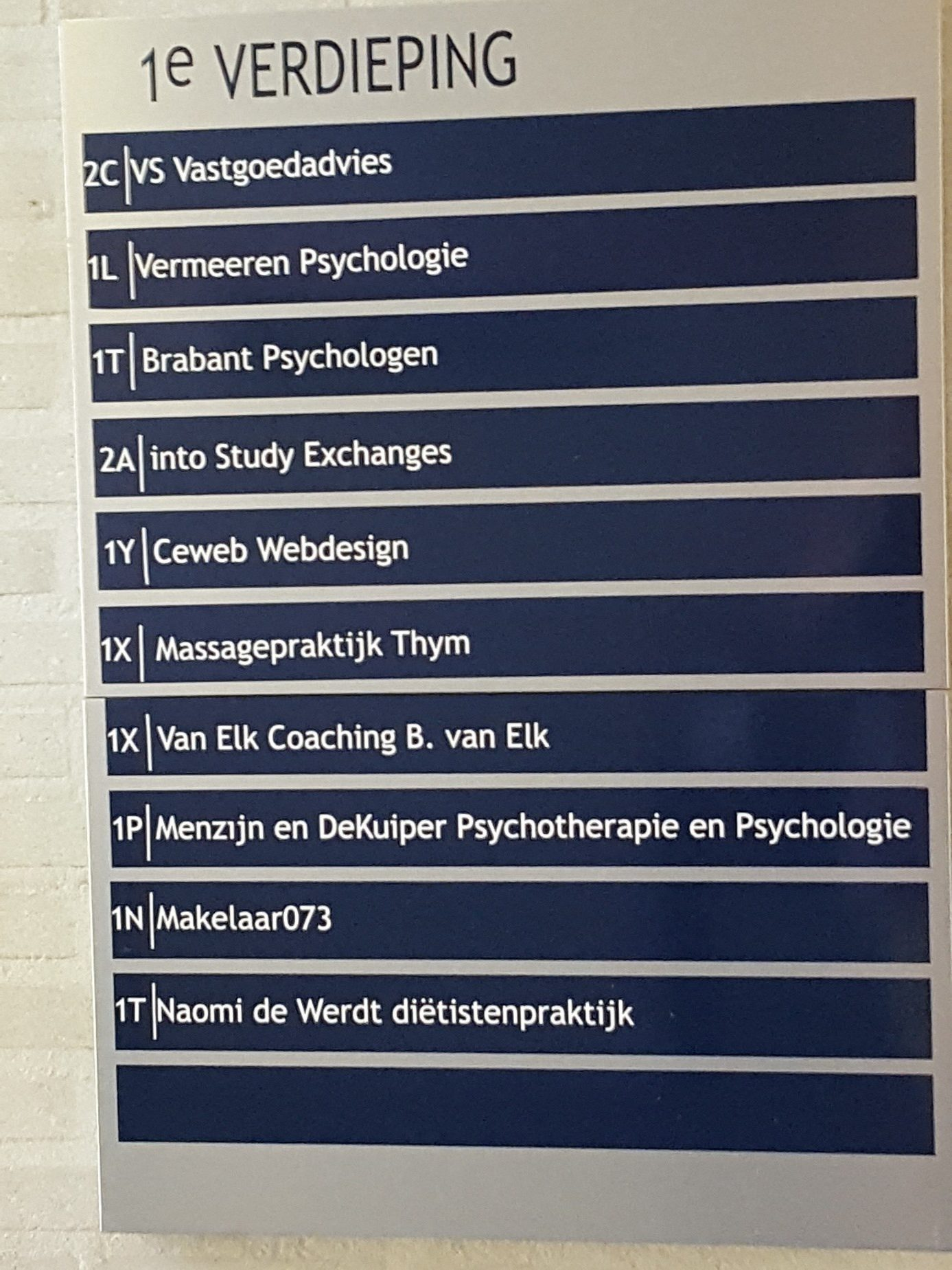 Adresbord 1e verdieping Vermeeren Psychologie